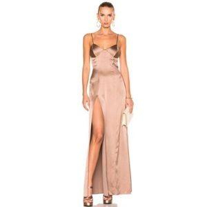Michelle mason silk bustier slip gown maxi dress